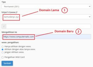 Redirect Domain Lama ke Domain Baru